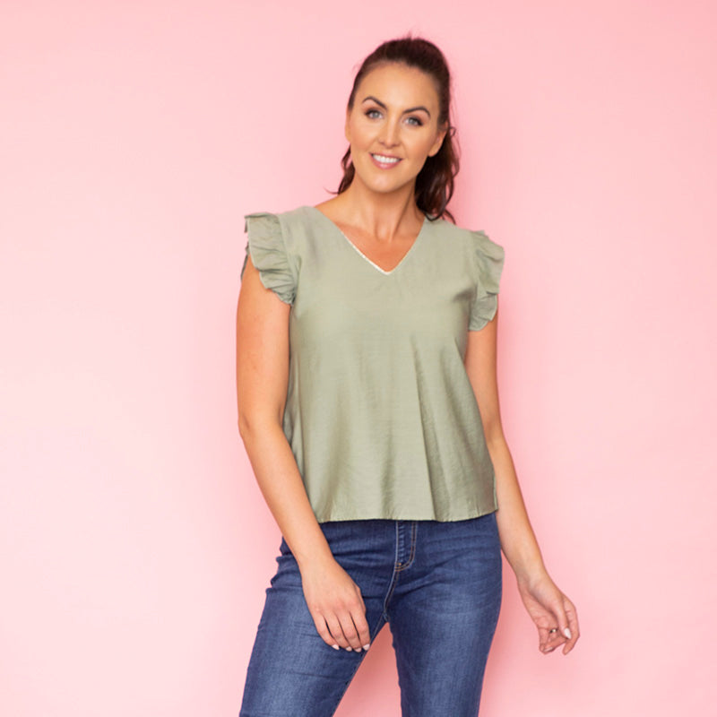 Emma Ruffle Sleeve Top (Sage)