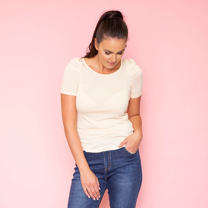 Lola Puff Sleeve T-Shirt (Buttermilk)