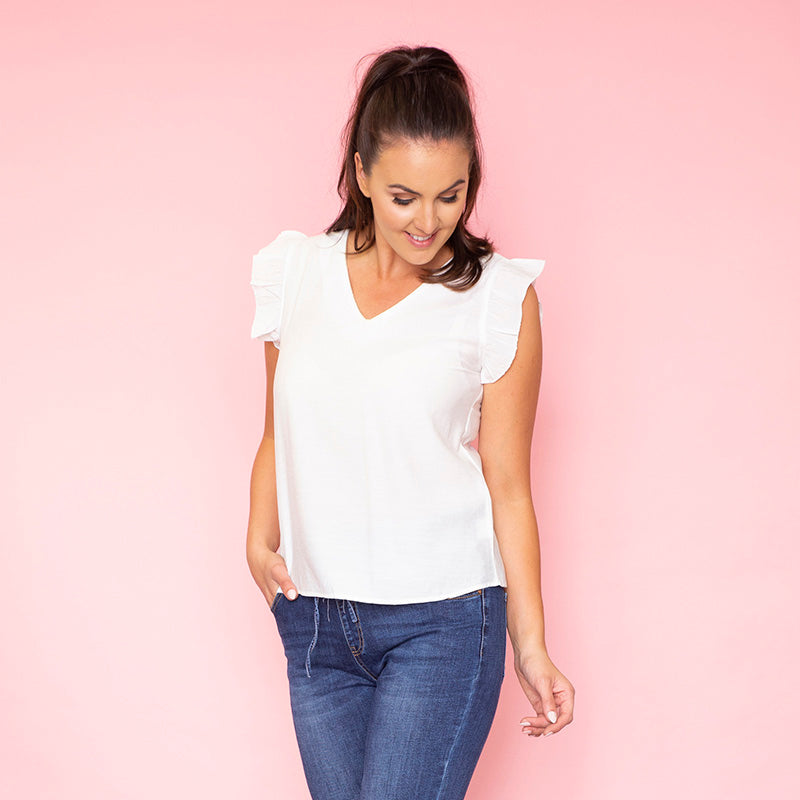 Emma Ruffle Sleeve Top (White)