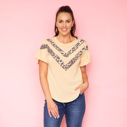 Cheever Chevron Ruffled Sleeve Top (Mustard)