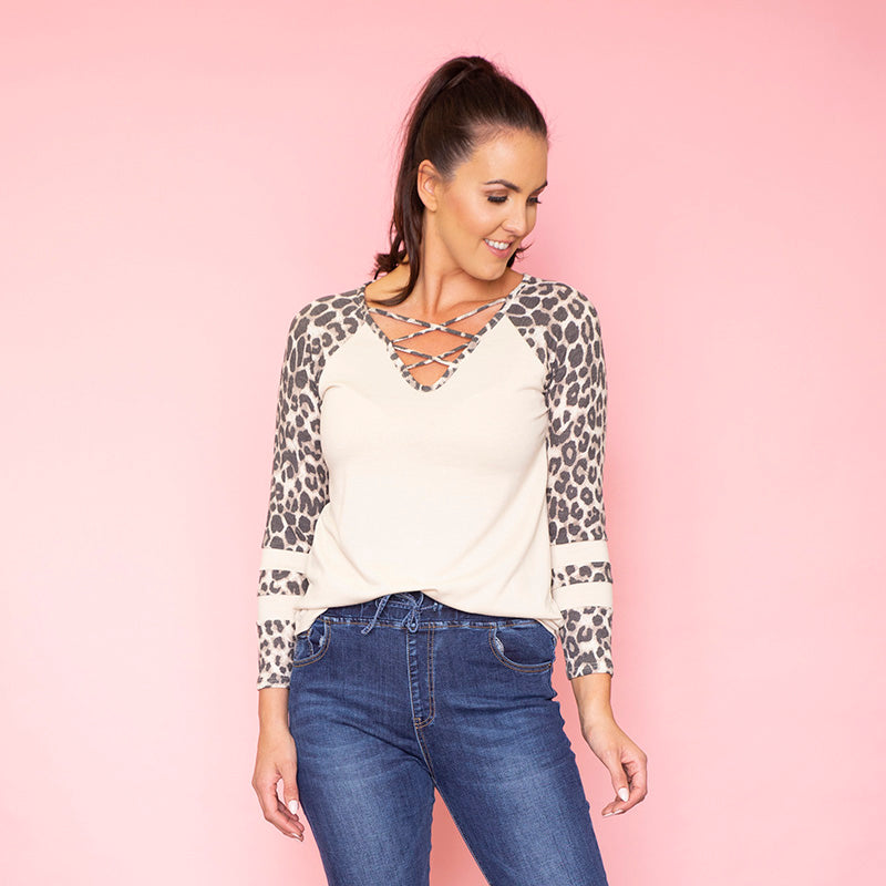 Rose Raglan Stripe Top (Leopard)