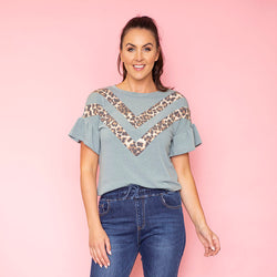 Cheever Chevron Ruffled Sleeve Top (Sage)