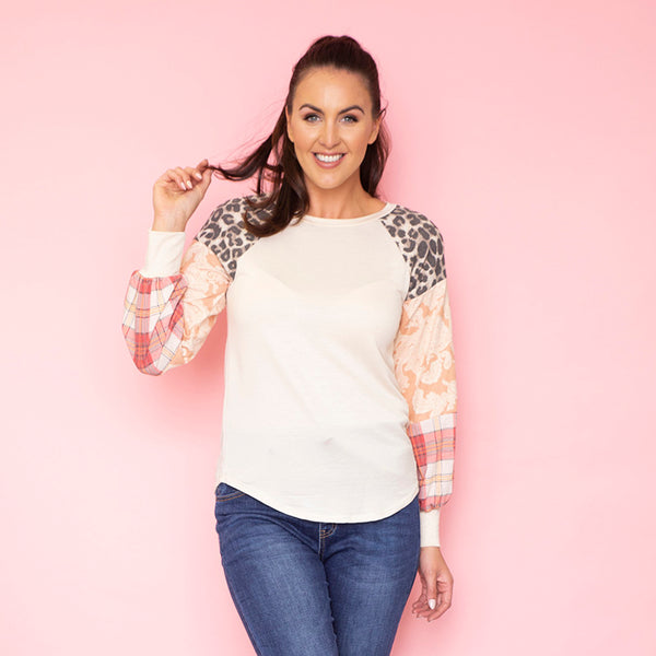 Rossa Raglan Sleeve Top (Peach)