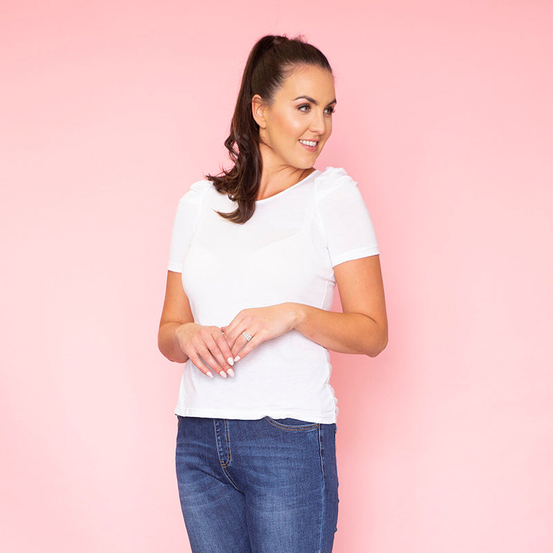 Lola Puff Sleeve T-Shirt (White)