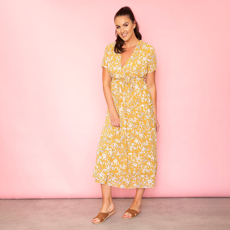 Sally Wrap Floral Dress Buttercup