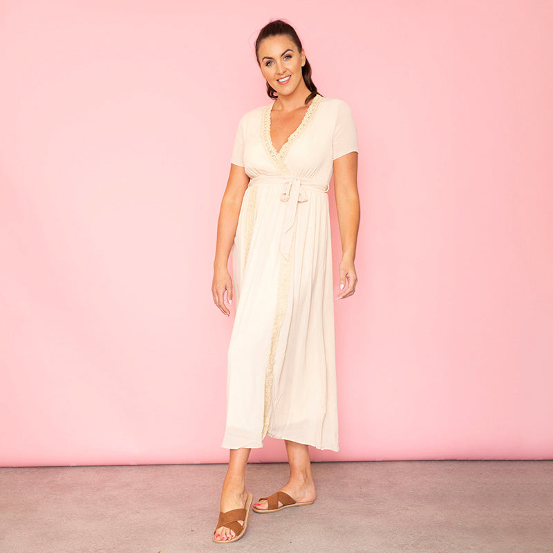 Lara Lace Trim Maxi Dress (Oat)