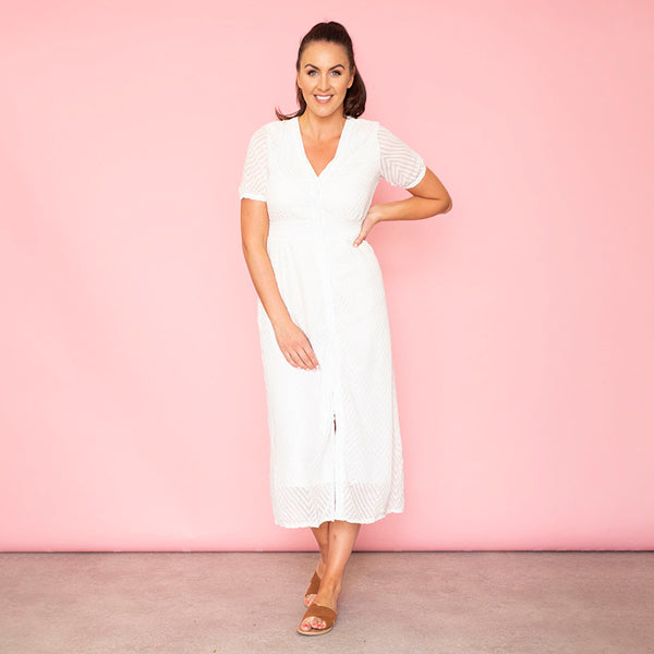 Rio Chevron Midi Dress (White)