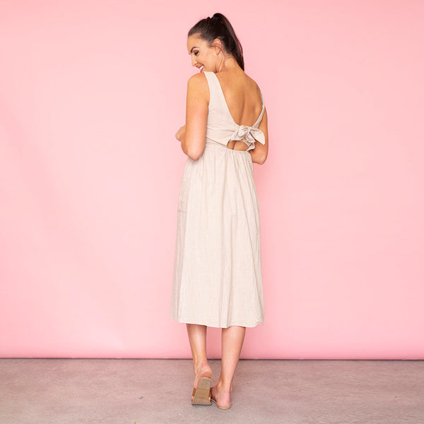 Bree Bow Back Midi Dress (Beige)