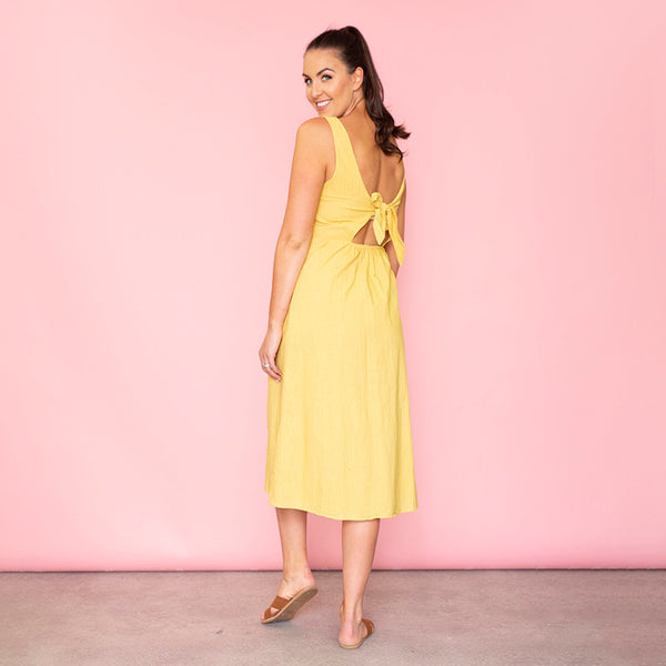Bree Bow Back Midi Dress (Daffodil)