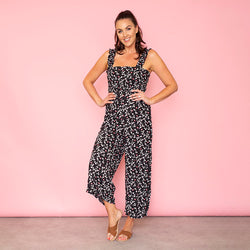Tina Shirred Body Jumpsuit Black