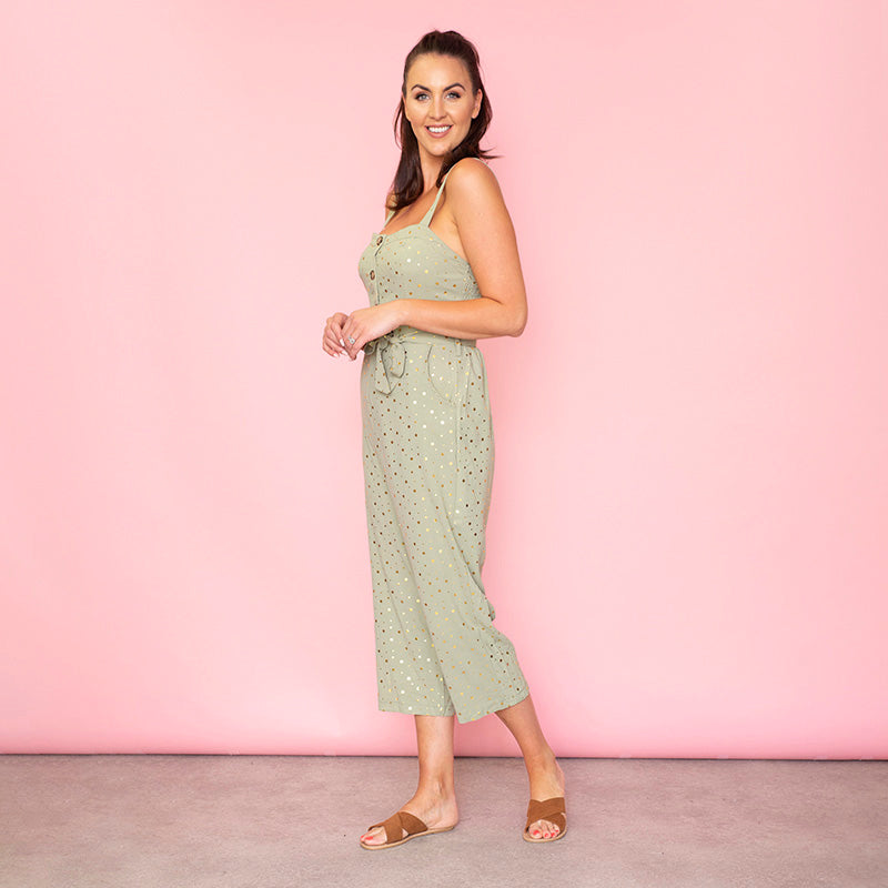 Isabella Sweetheart Jumpsuit (Sage)