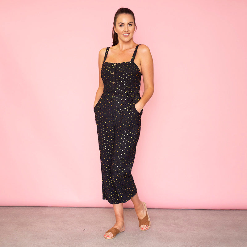 Isabella Sweetheart Jumpsuit (Black)