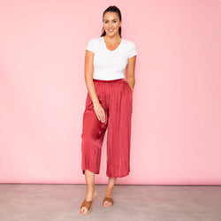 Aly Loose Elastic Waist Trousers Cherry