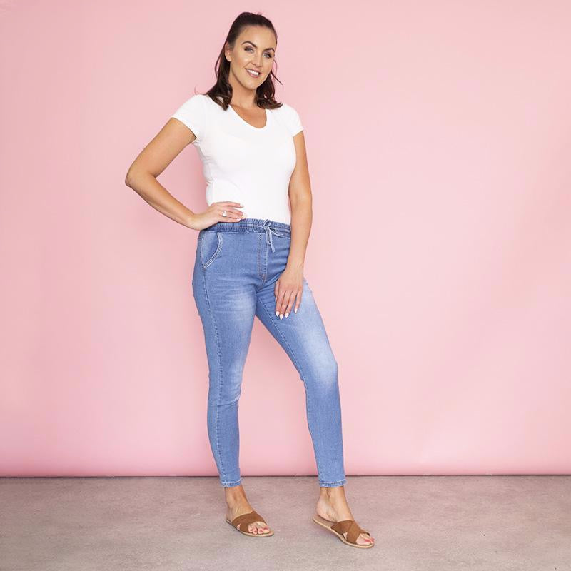 Lucy Jegging Elastic Waist (Light Blue)