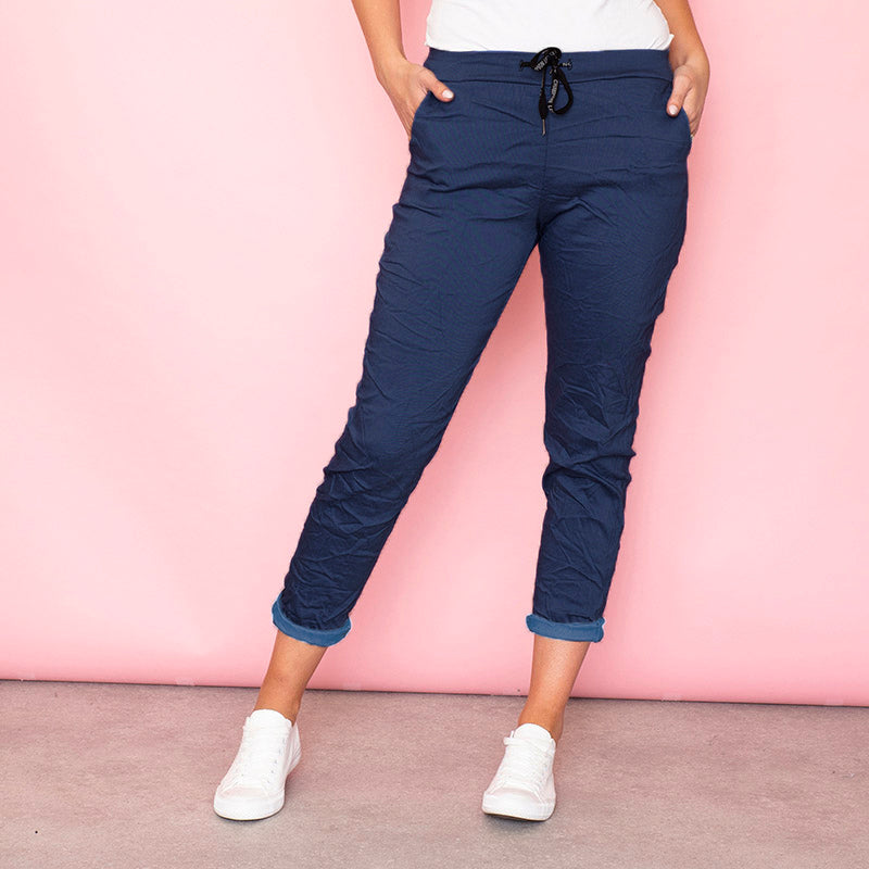 Billie Crinkle Jogger (Dark Blue)