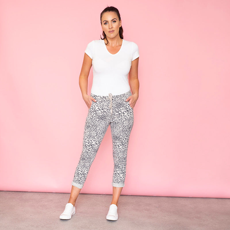 Taylor Leopard Jogger (White)
