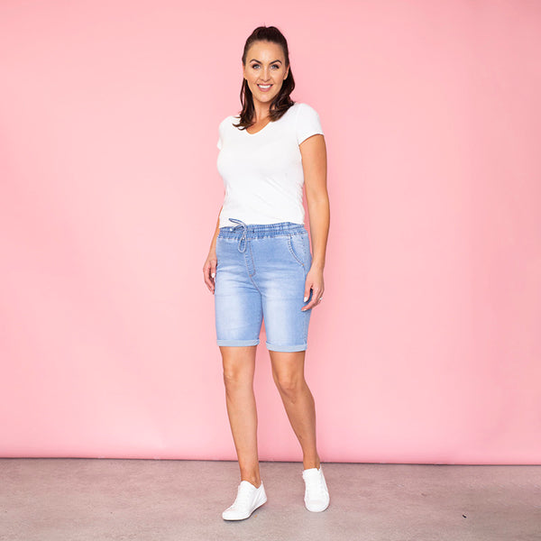 Phoebe Elastic Waist Shorts (Light Blue)