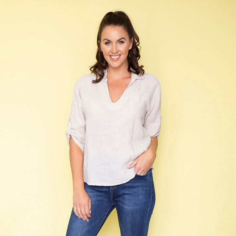 Carrie Cotton Shirt (Dove Grey)