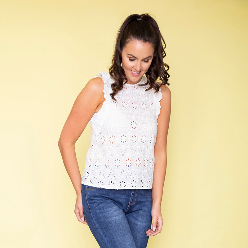 Paige Ruffle Sleeve Top (White)