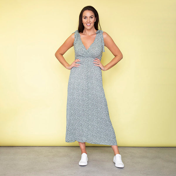 Georgia Bow Tie Midi Dress (Sage)