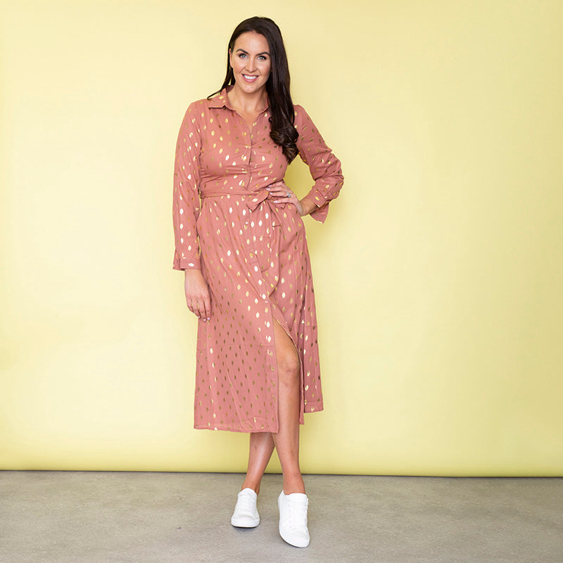 Cassie Shirt Midi Dress (Dusty Rose)