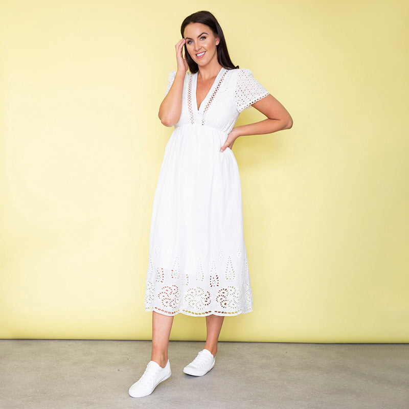 May Cap Sleeve Midi Dress (White)