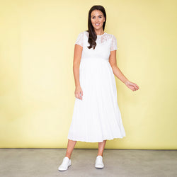 Lara Lace Cap Sleeve Dress (White)
