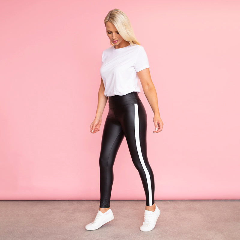 Hailey Wet Look Leggings (White Stripe)