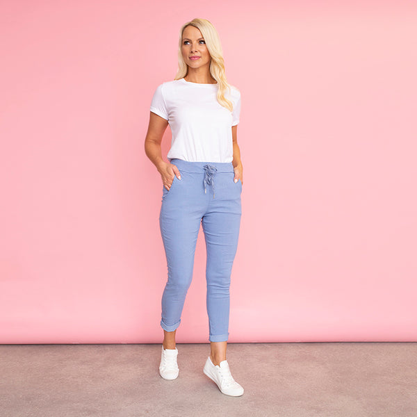 Sia Relaxed Stretch Jogger (Sky Blue)