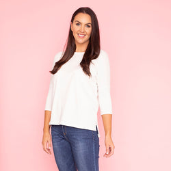 Pia Relaxed Fit Round Neck Top (Vanilla)