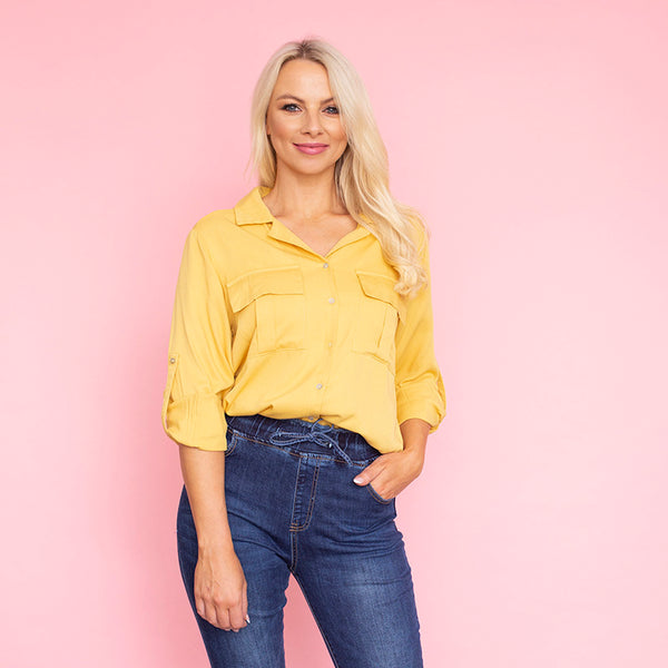 Elenor Pocket Shirt (Mustard)