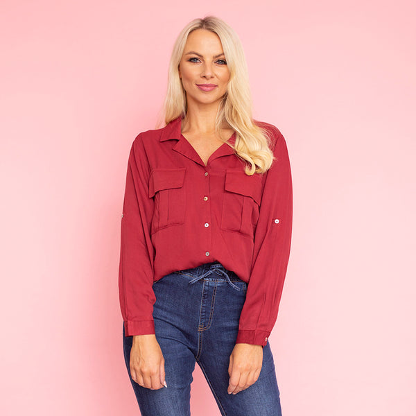 Elenor Pocket Shirt (Burgundy)