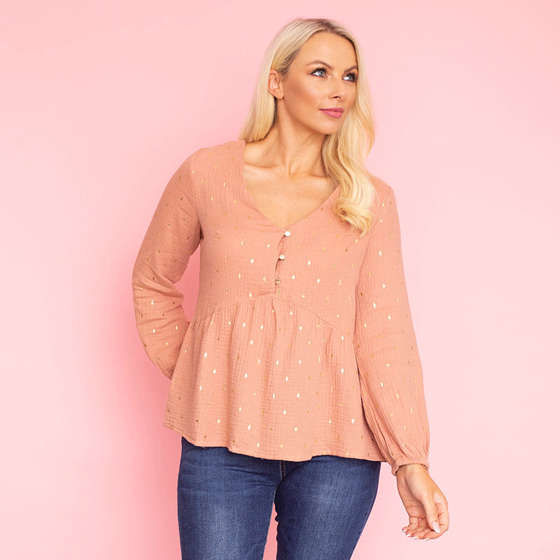 Pia Peplum Top (Peach)