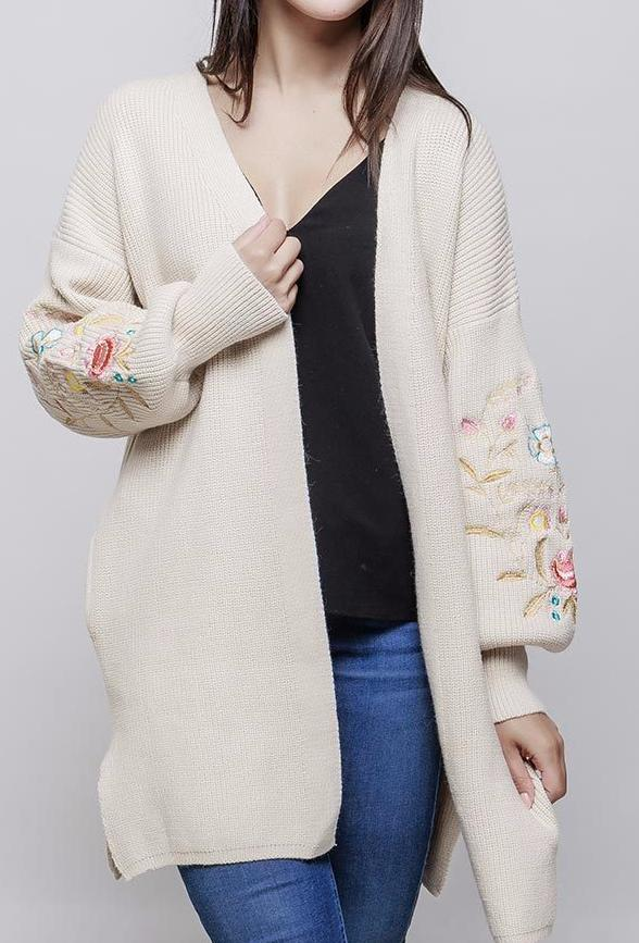 Long Floral Embroidered Cardigan Cream