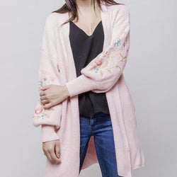 Long Floral Embroidered Cardigan Pink