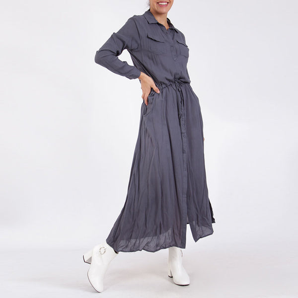 Shirt Maxi Dress Grey