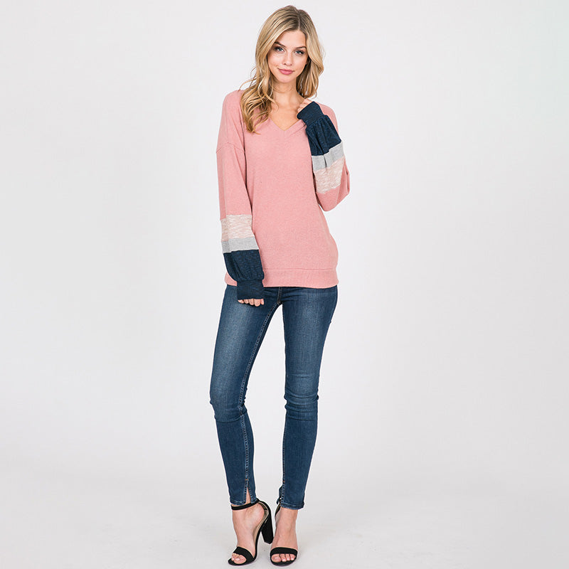 Apolo Colour Block Top Rose