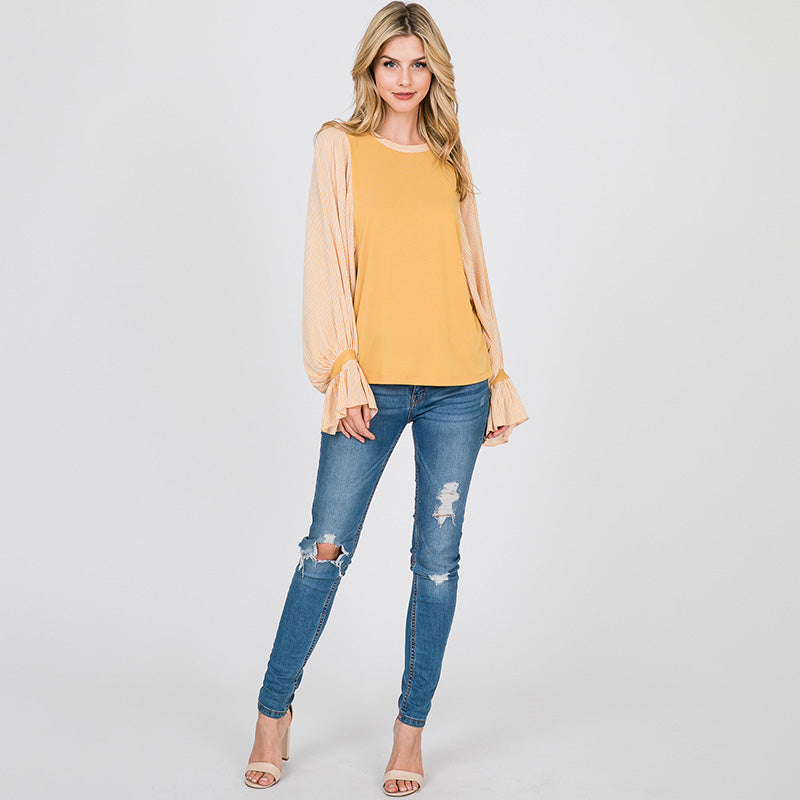 Sarah Stripe Sleeve Top Lemon