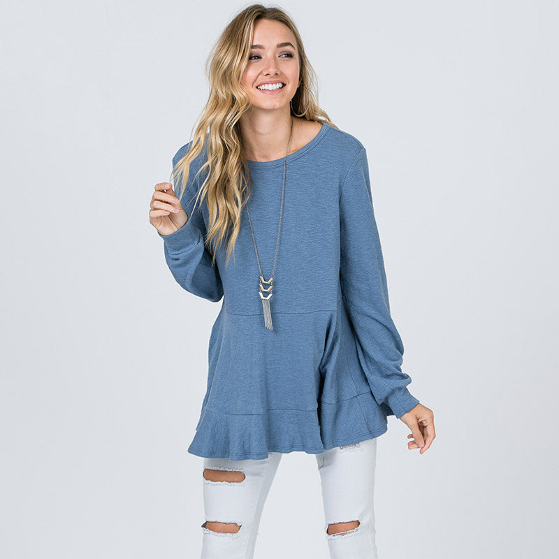 Pretty Peplum Sweater Denim Blue