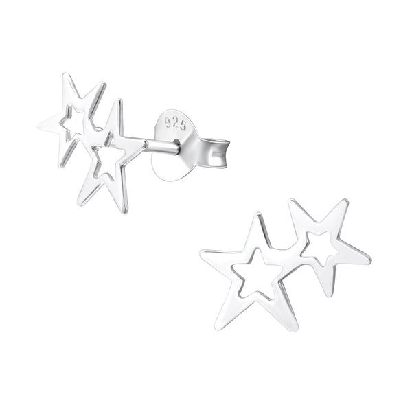 Double Star Sterling Silver Studs