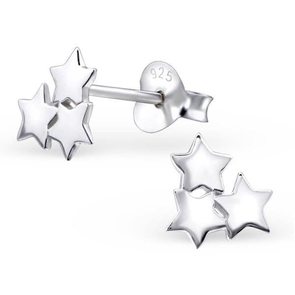 Sterling Silver 3 Star Stud
