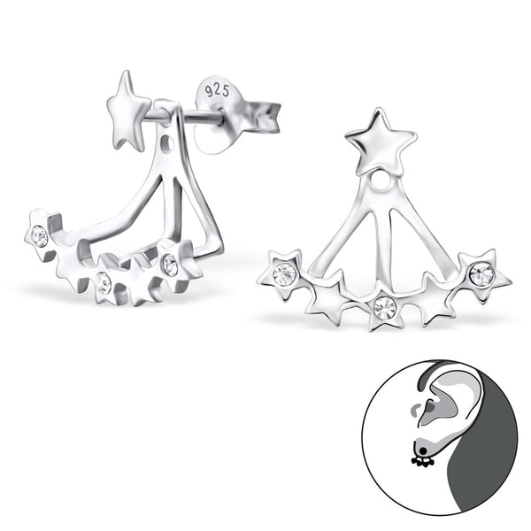 Sterling Silver Star Double Stud Earring