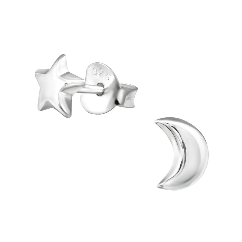 Sterling Silver Star & Moon Studs
