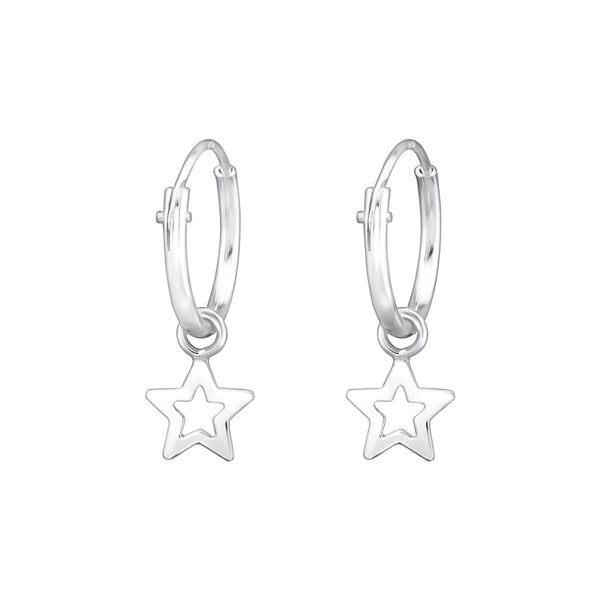 Sterling Silver Drop Star Hoop