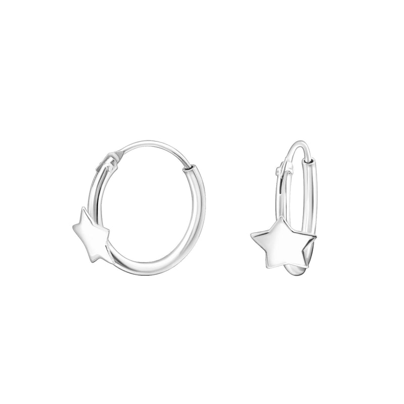 Sterling Silver Star Hoop Earring