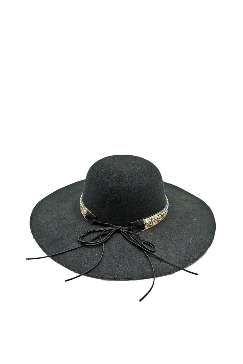 Dahlia Wide Brim Hat (Black)