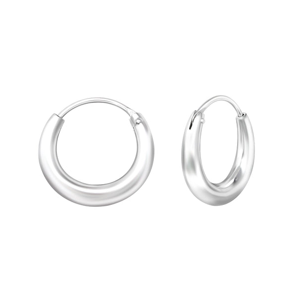 Sterling Silver Rounded Hoop Earrings