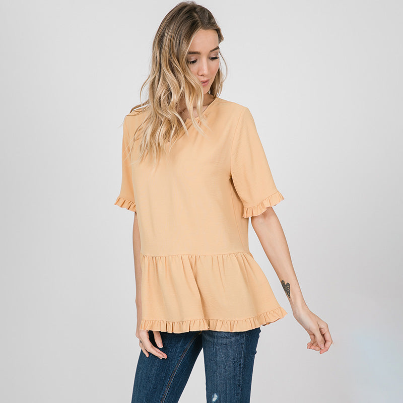 Rhiona Ruffle Blouse Lemon