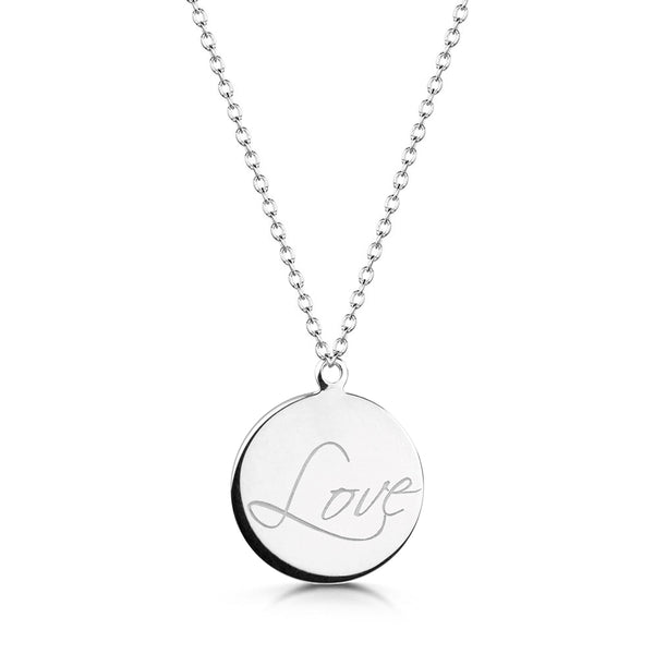 Sterling Silver LOVE Disk Necklace