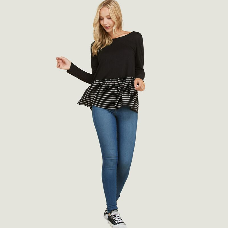 Stripe Ruffle Hem Top Black